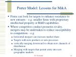 porter model lessons for m a