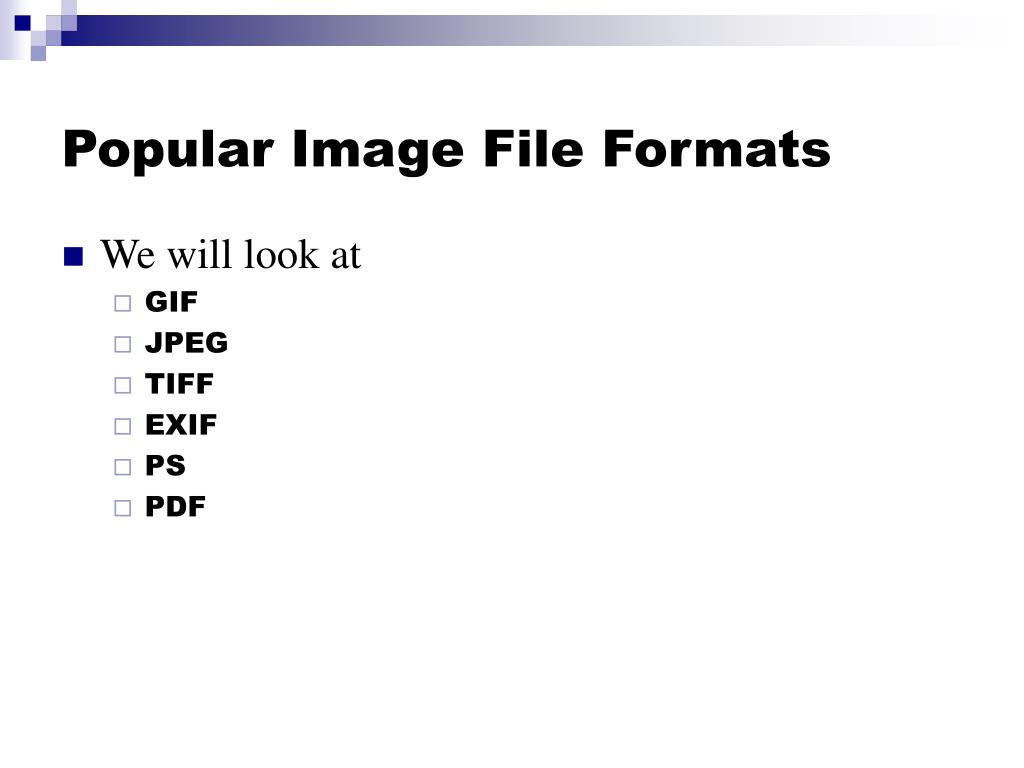 Popular Image File Formats