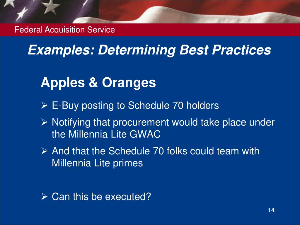 Examples: Determining Best Practices