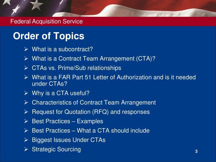 Order of topics