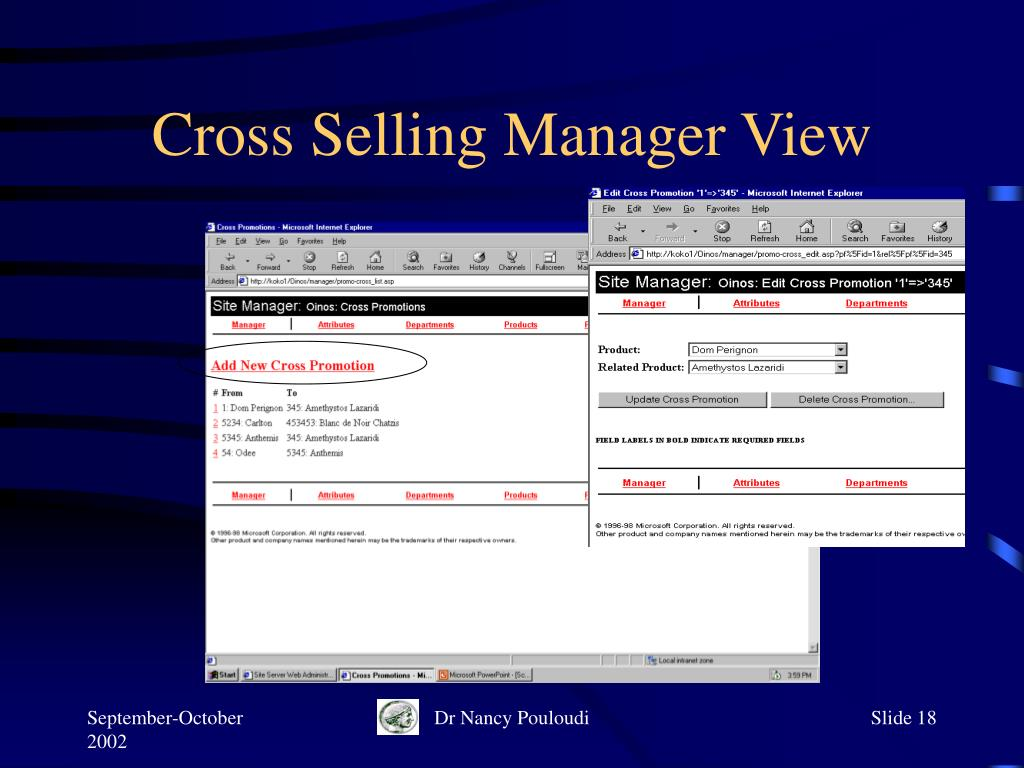Cross Selling Manager View
