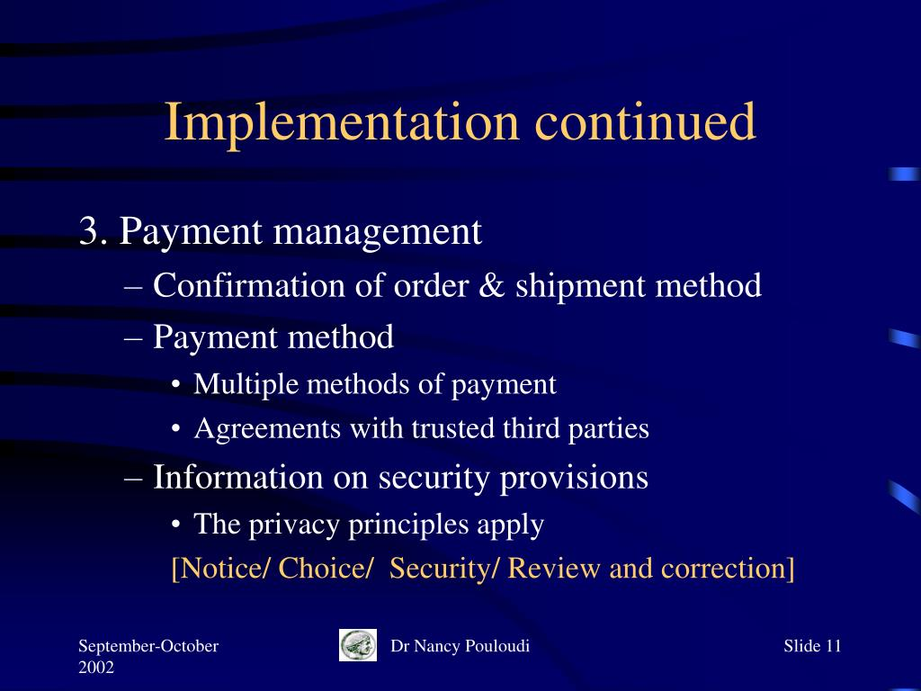 Implementation continued