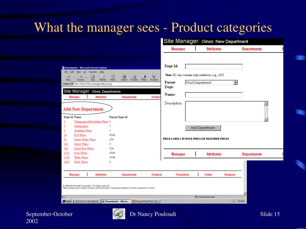 What the manager sees - Product categories