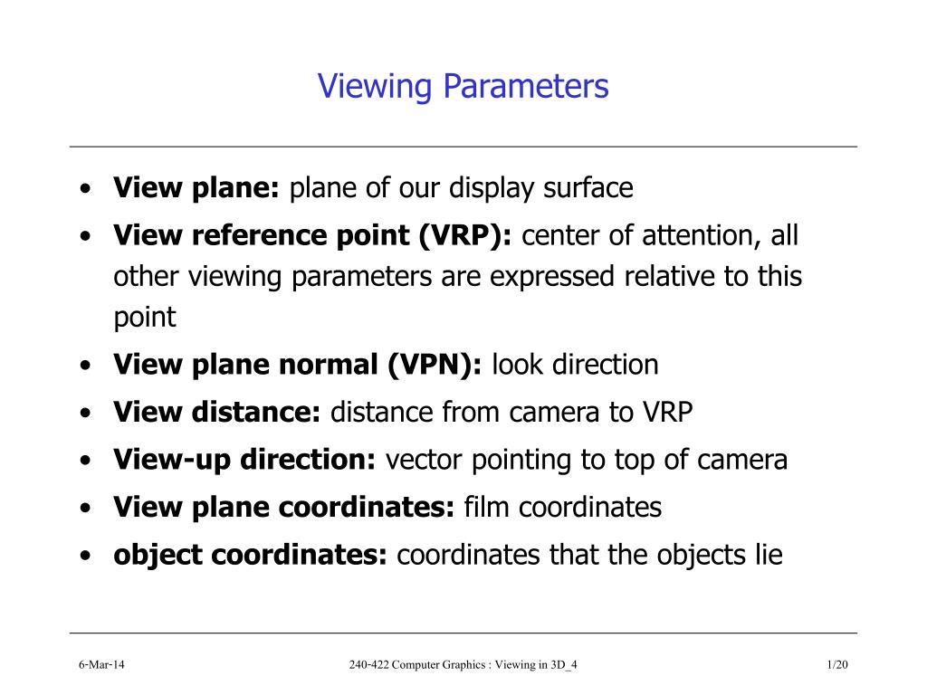 viewing parameters l.