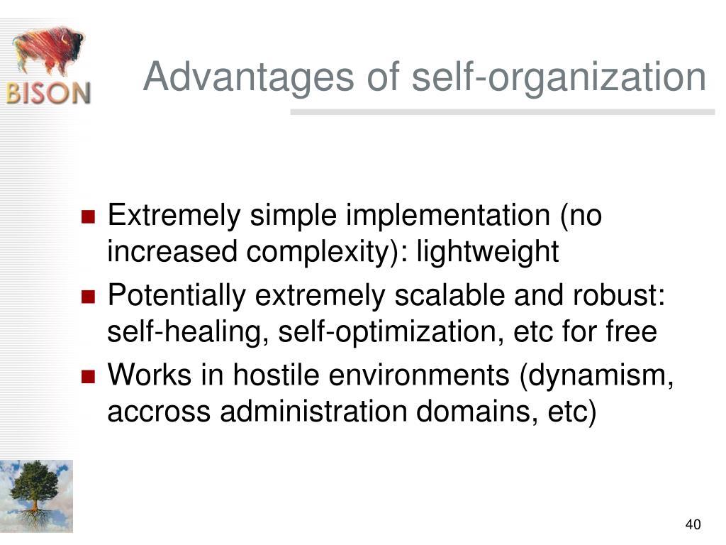 Advantages of self-organization
