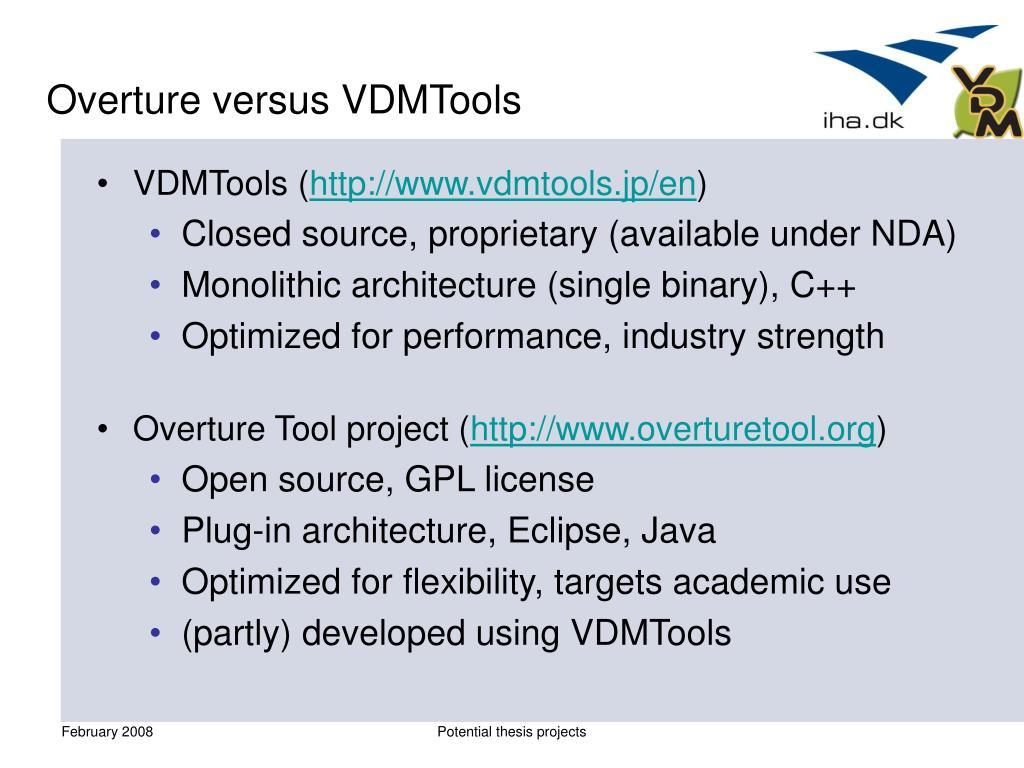 Overture versus VDMTools
