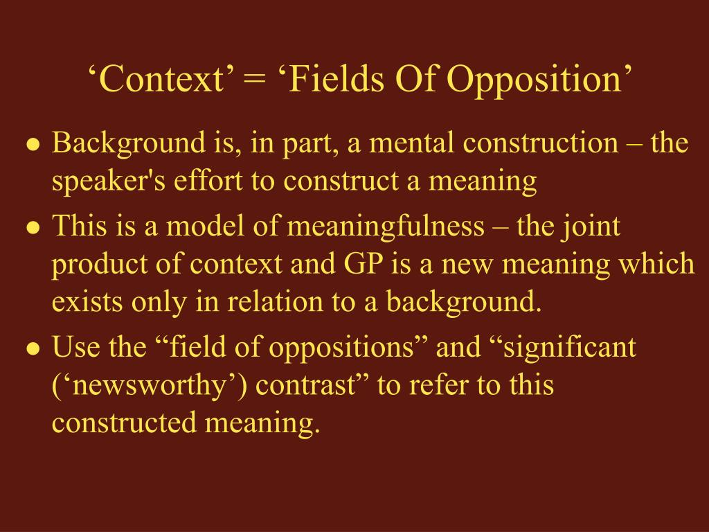'Context' = 'Fields Of Opposition'