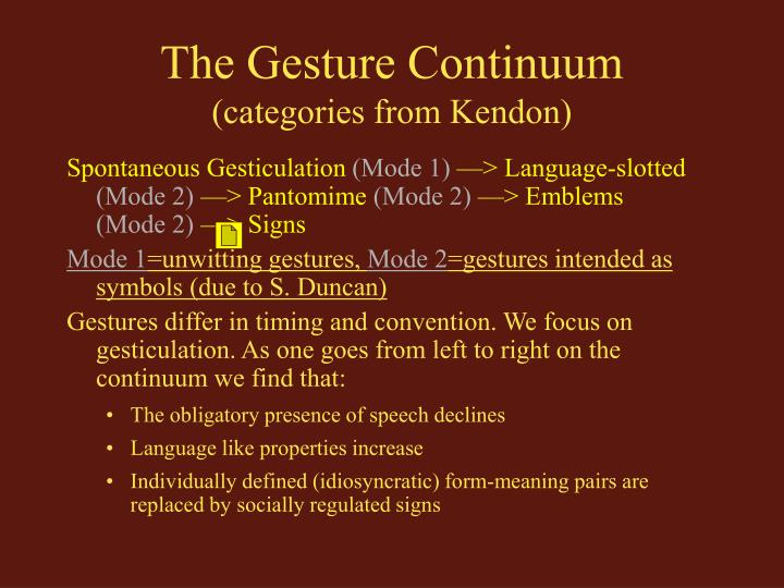 The gesture continuum categories from kendon