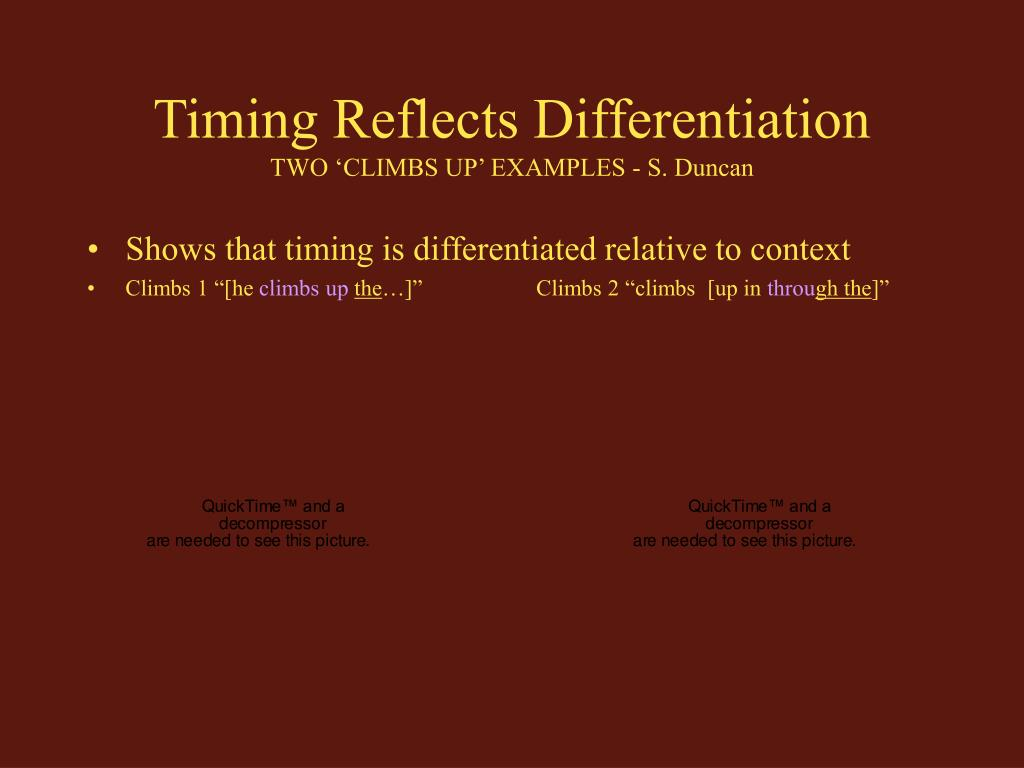 Timing Reflects Differentiation