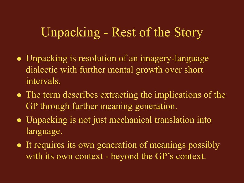 Unpacking - Rest of the Story