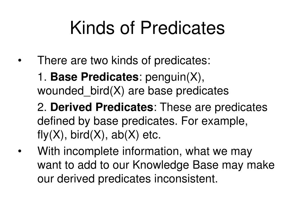 Kinds of Predicates