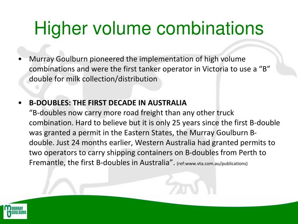 Higher volume combinations