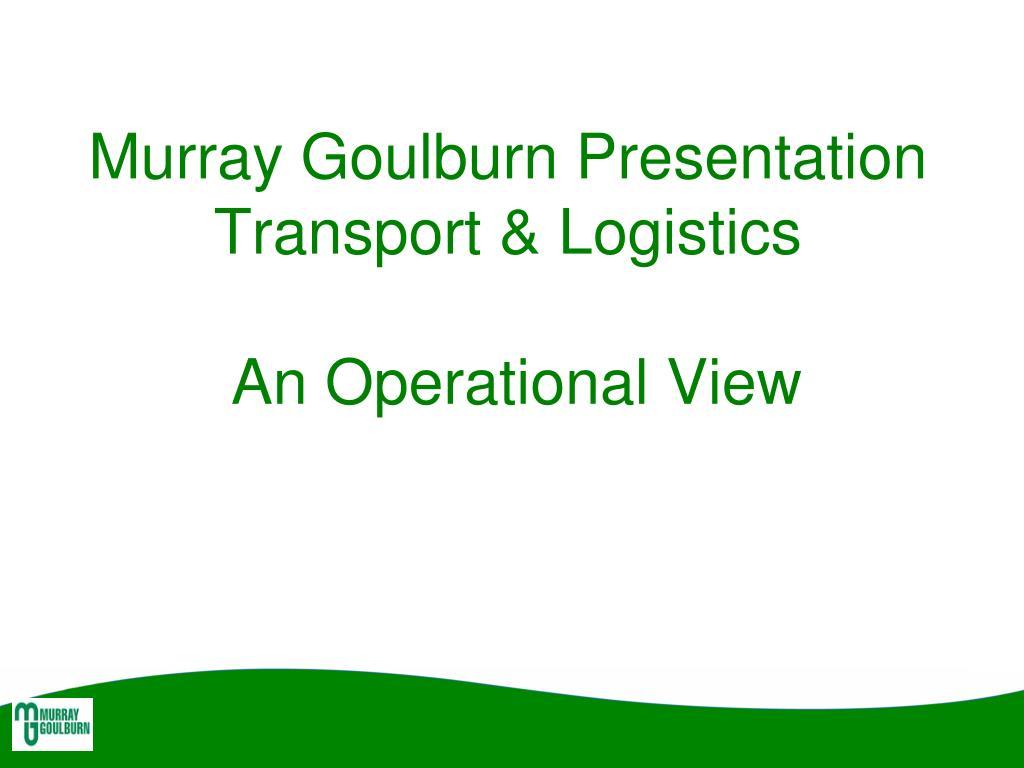 Murray Goulburn Presentation