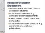 research evaluation expectations