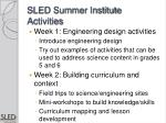 sled summer institute activities