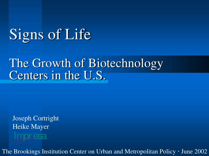 signs of life the growth of biotechnology centers in the u s n.
