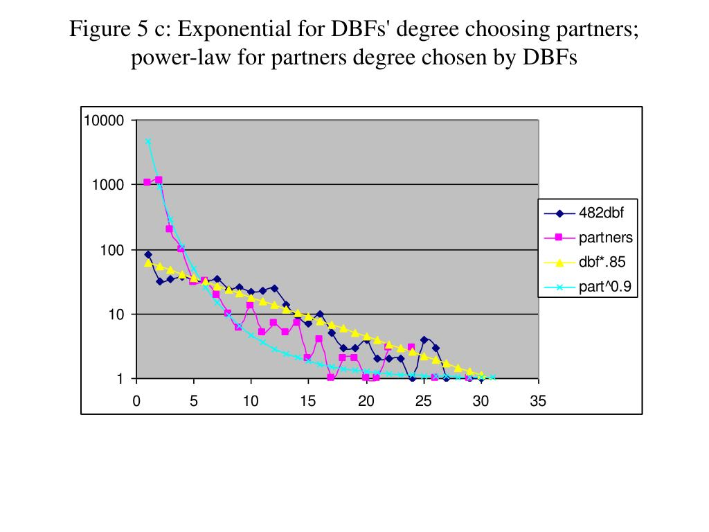 Figure 5 c: Exponential for DBFs' degree choosing partners; power-law for partners degree chosen by DBFs