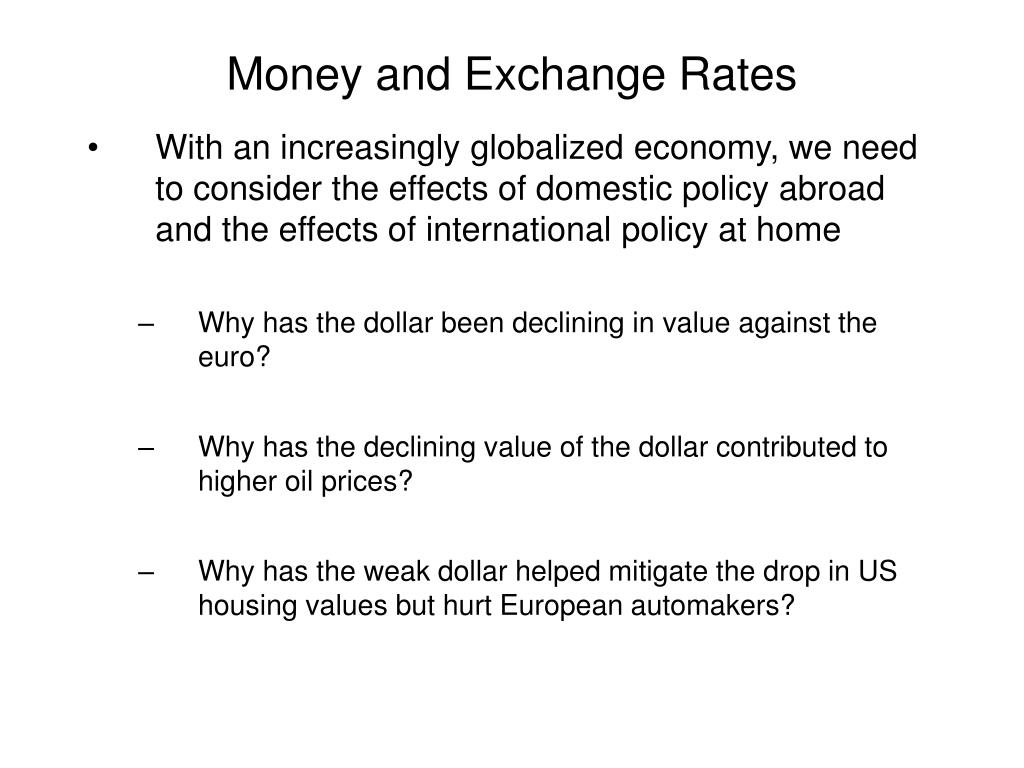 Money and Exchange Rates