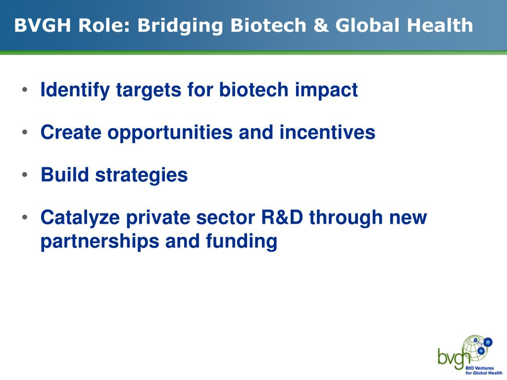 BVGH Role: Bridging Biotech & Global Health