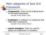 main categories of java gui f ramework