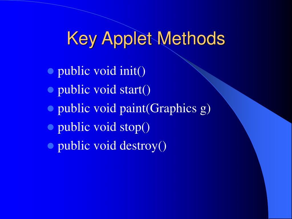 Key Applet Methods