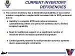 current inventory deficiencies