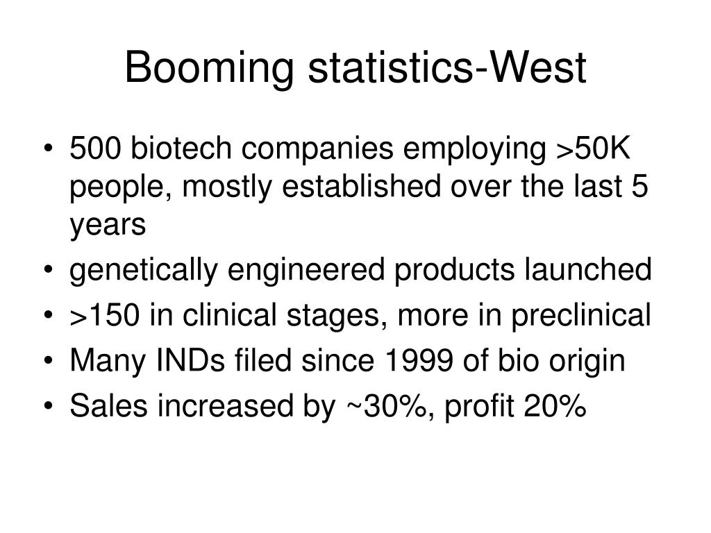 Booming statistics-West