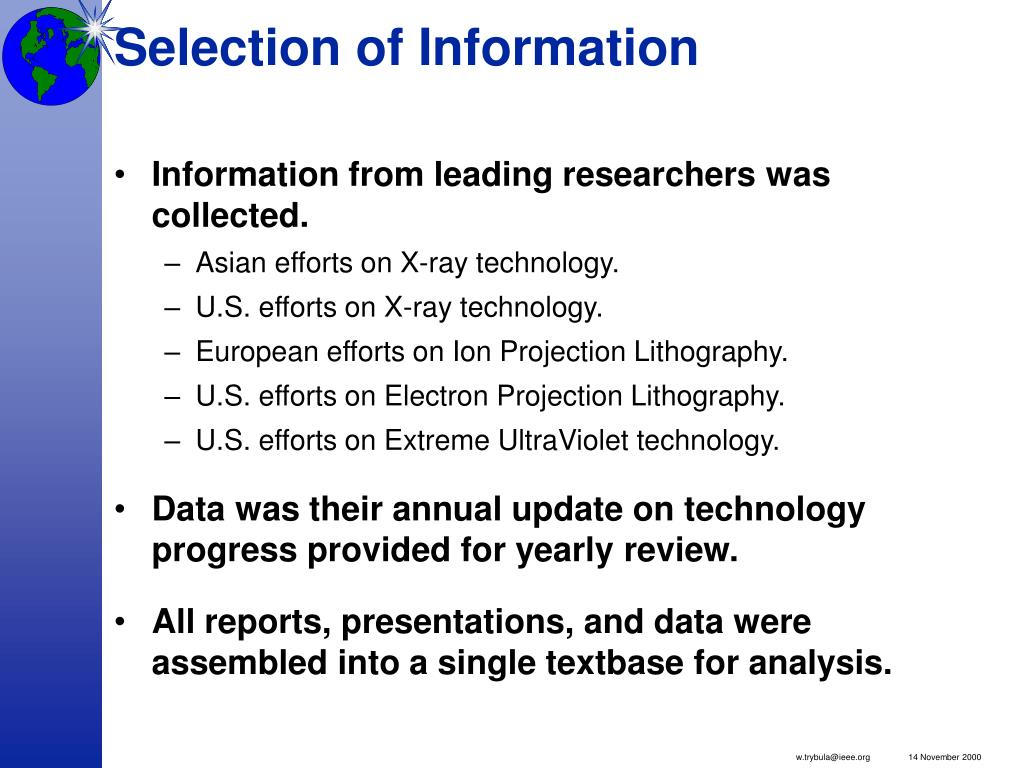 Selection of Information