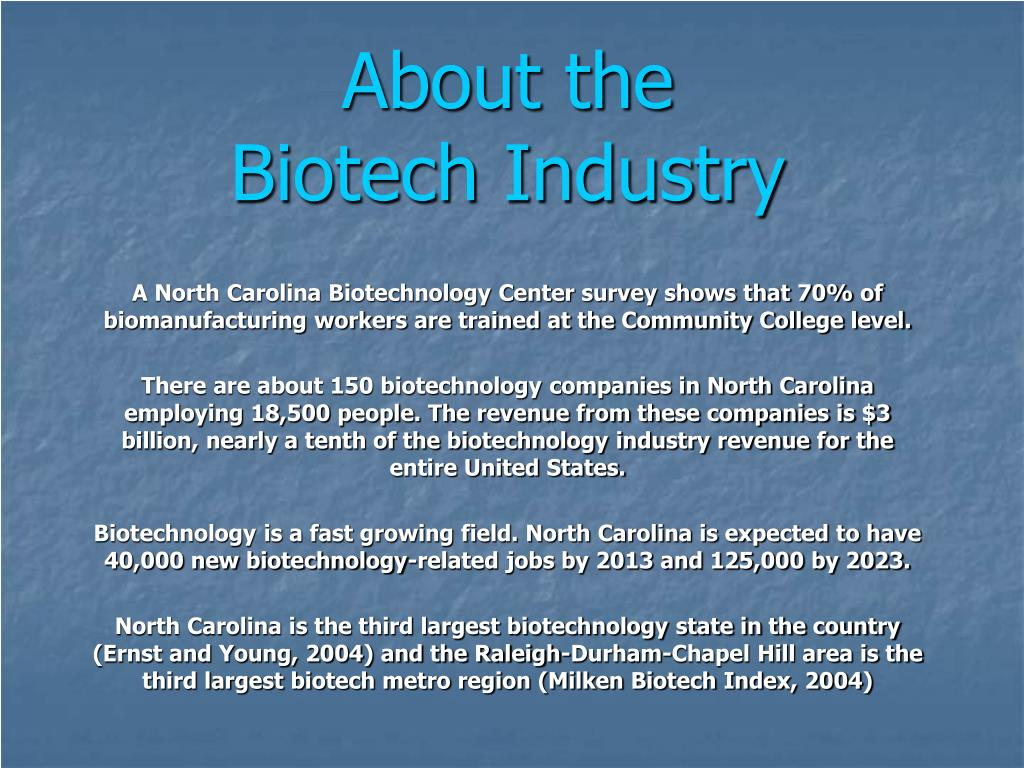 about the biotech industry l.