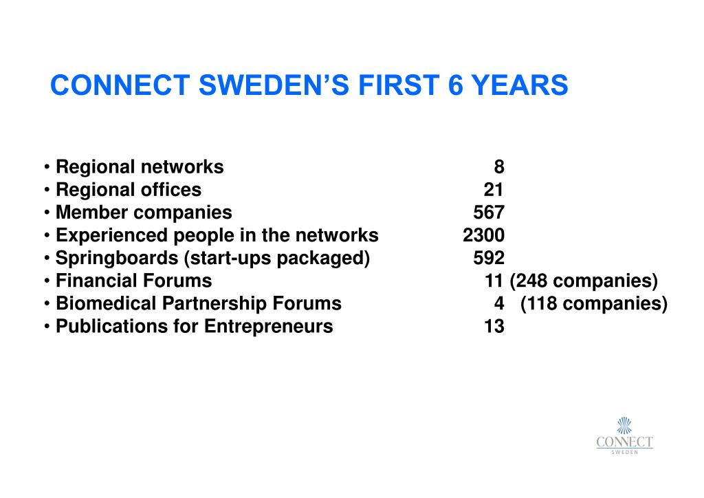 CONNECT SWEDEN'S FIRST 6 YEARS
