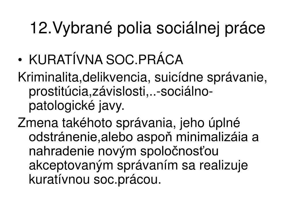 12.Vybrané polia sociálnej práce