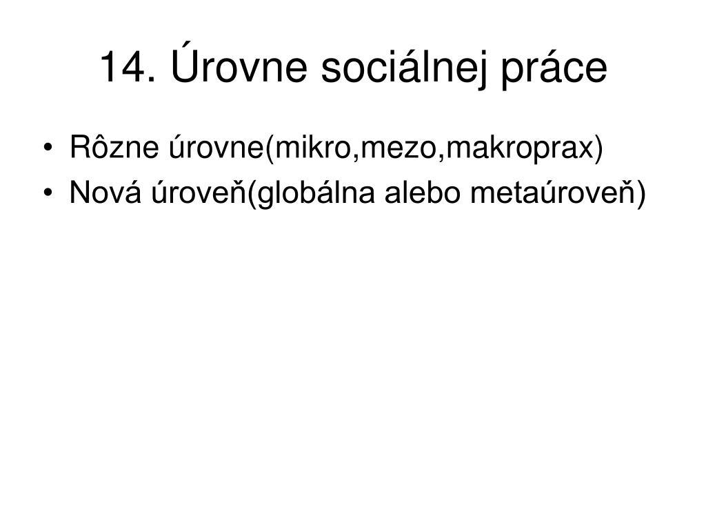 14. Úrovne sociálnej práce