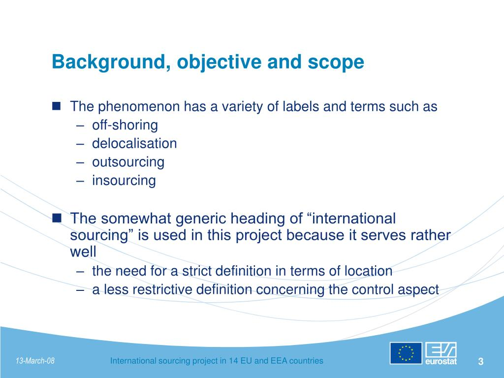 Background, objective and scope
