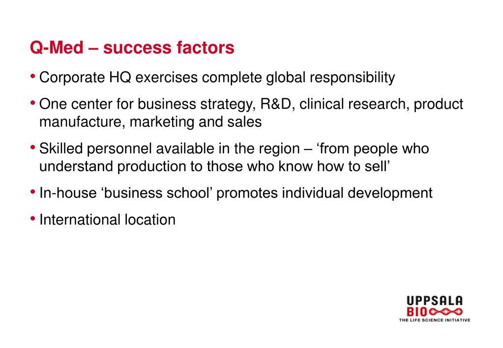 Q-Med – success factors