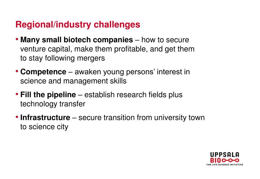 Regional/industry challenges