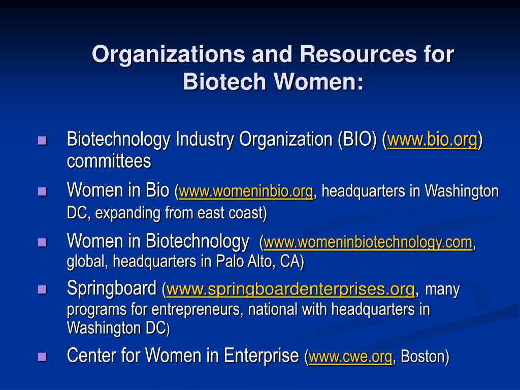 Organizations and Resources for Biotech Women:
