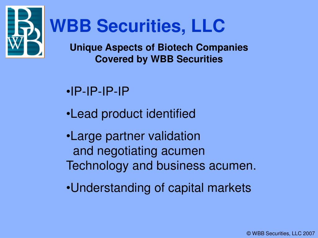 Unique Aspects of Biotech Companies Covered by WBB Securities