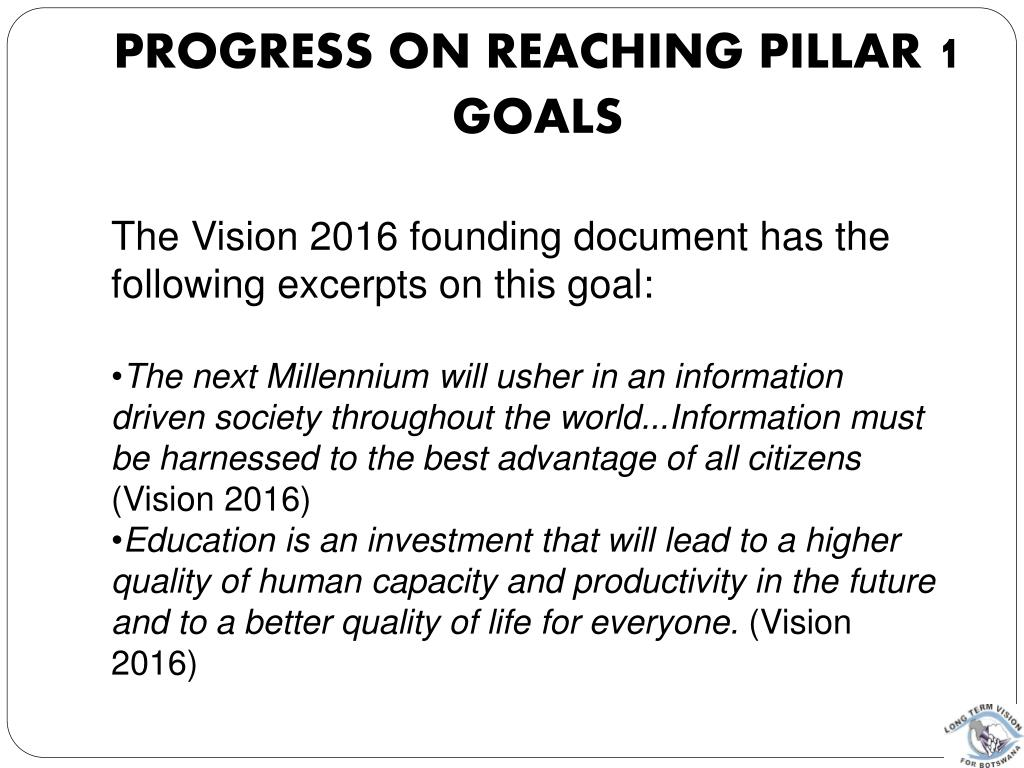 Progress on reaching pillar