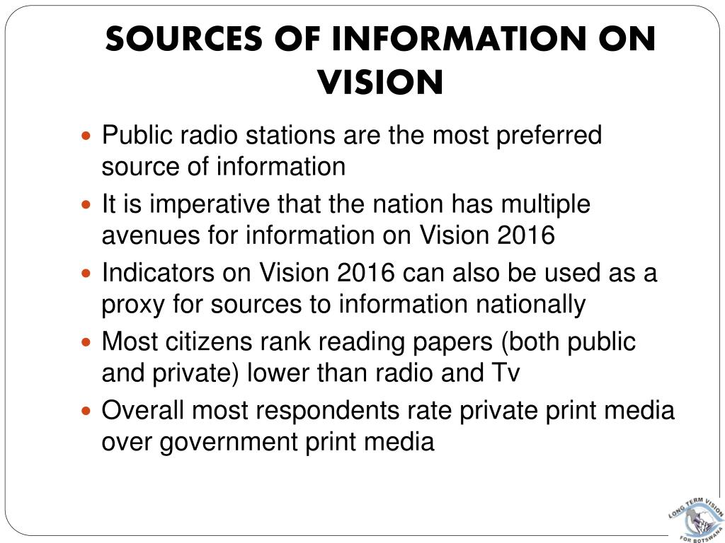 Sources of Information on Vision