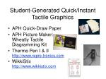 student generated quick instant tactile graphics
