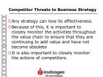 competitor threats to business strategy