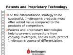 patents and proprietary technology