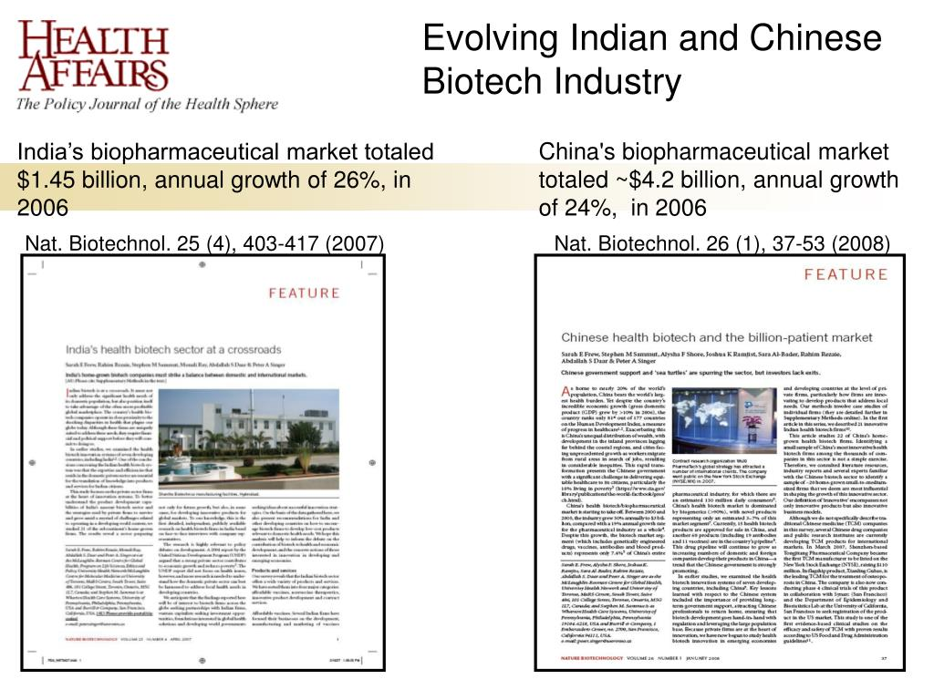 Evolving Indian and Chinese Biotech Industry