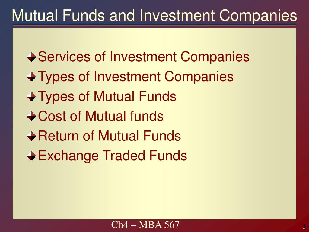 mutual funds and investment companies l.