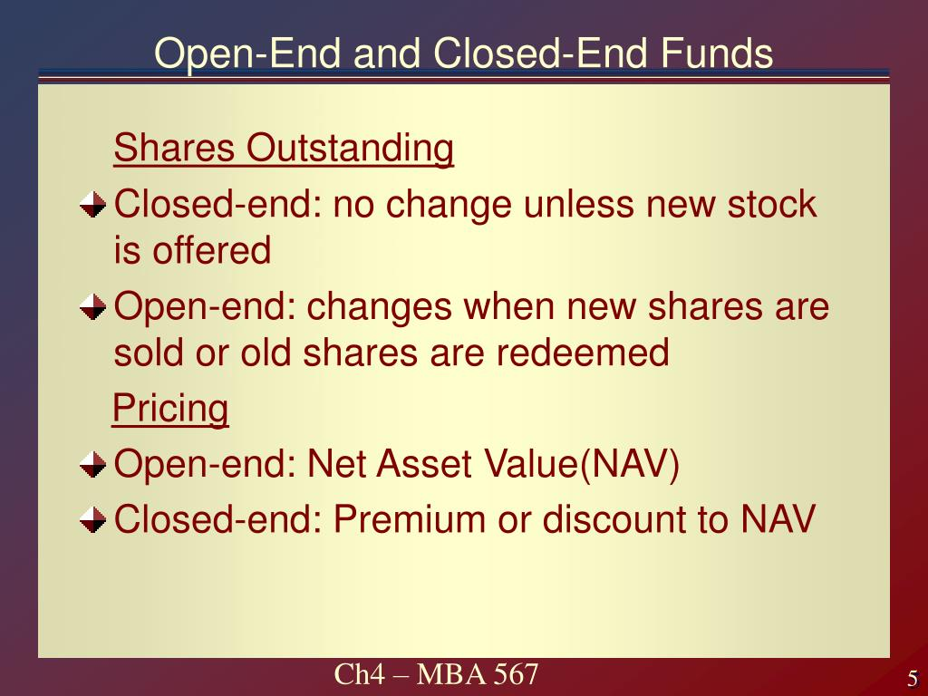 Open-End and Closed-End Funds