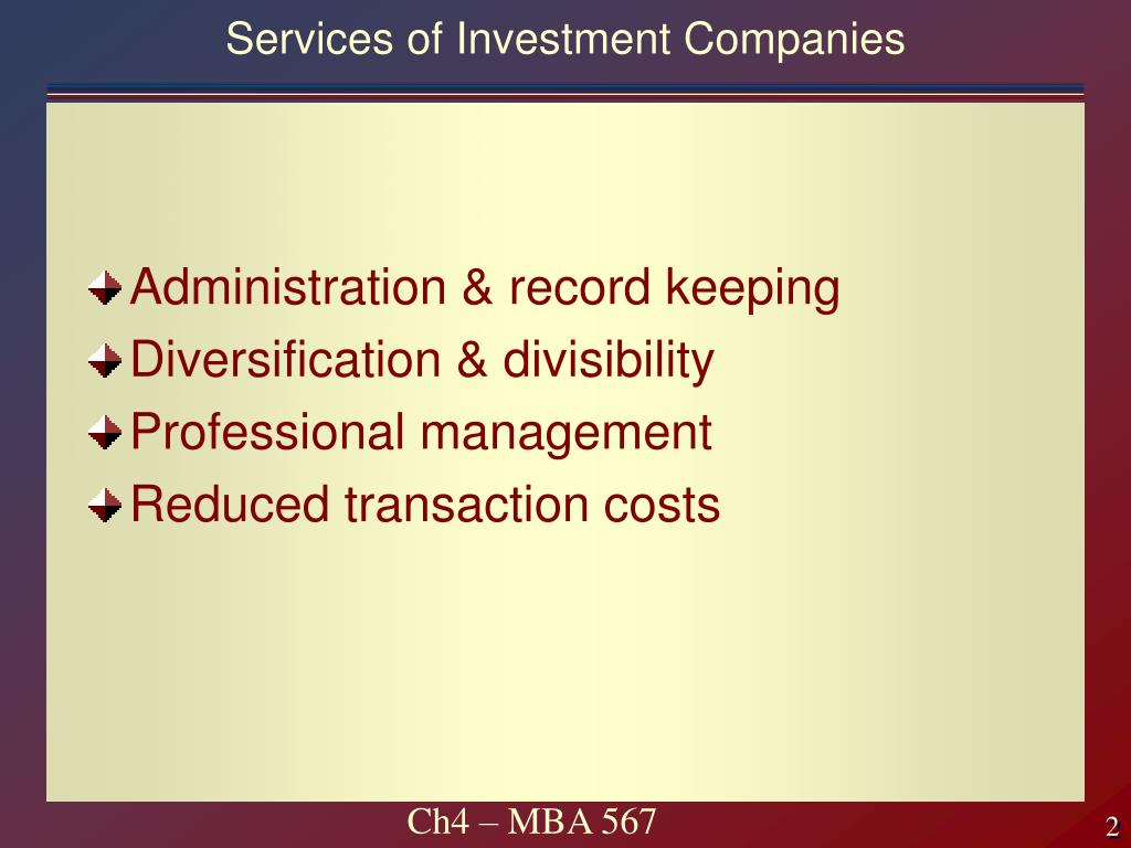 Services of Investment Companies