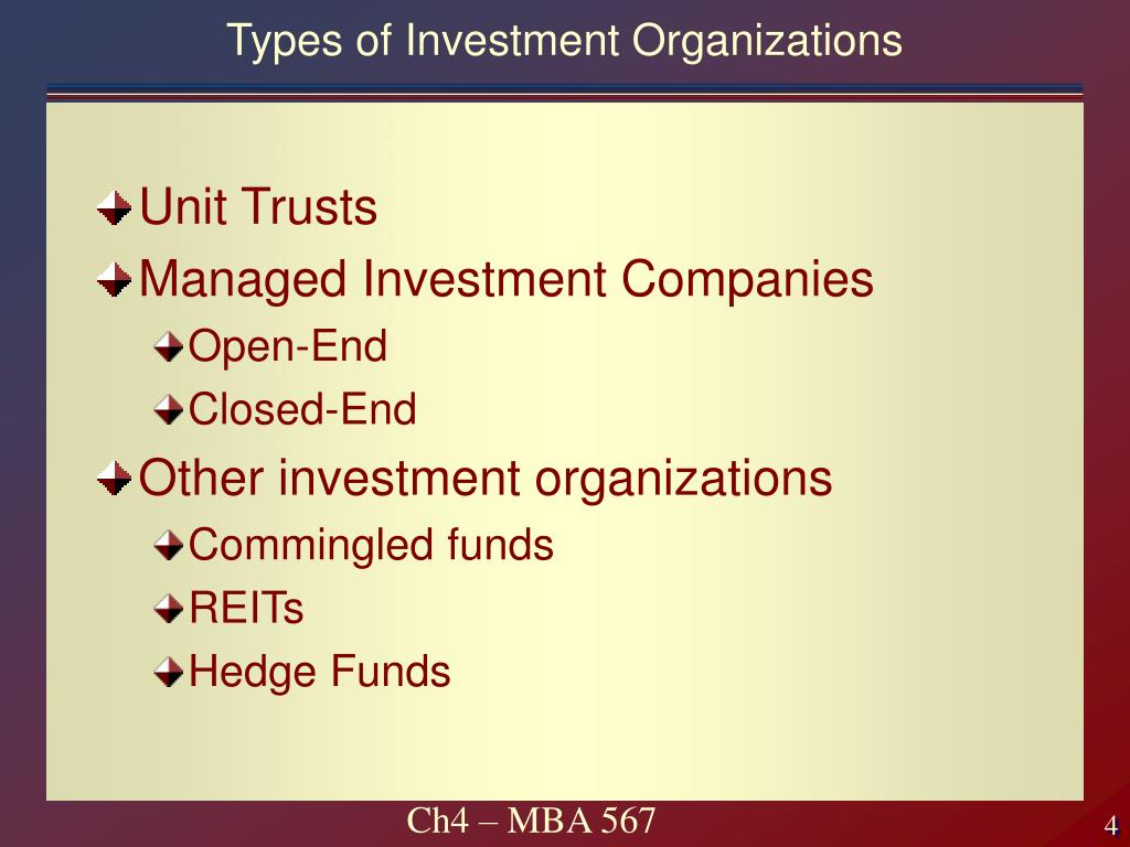 Types of Investment Organizations
