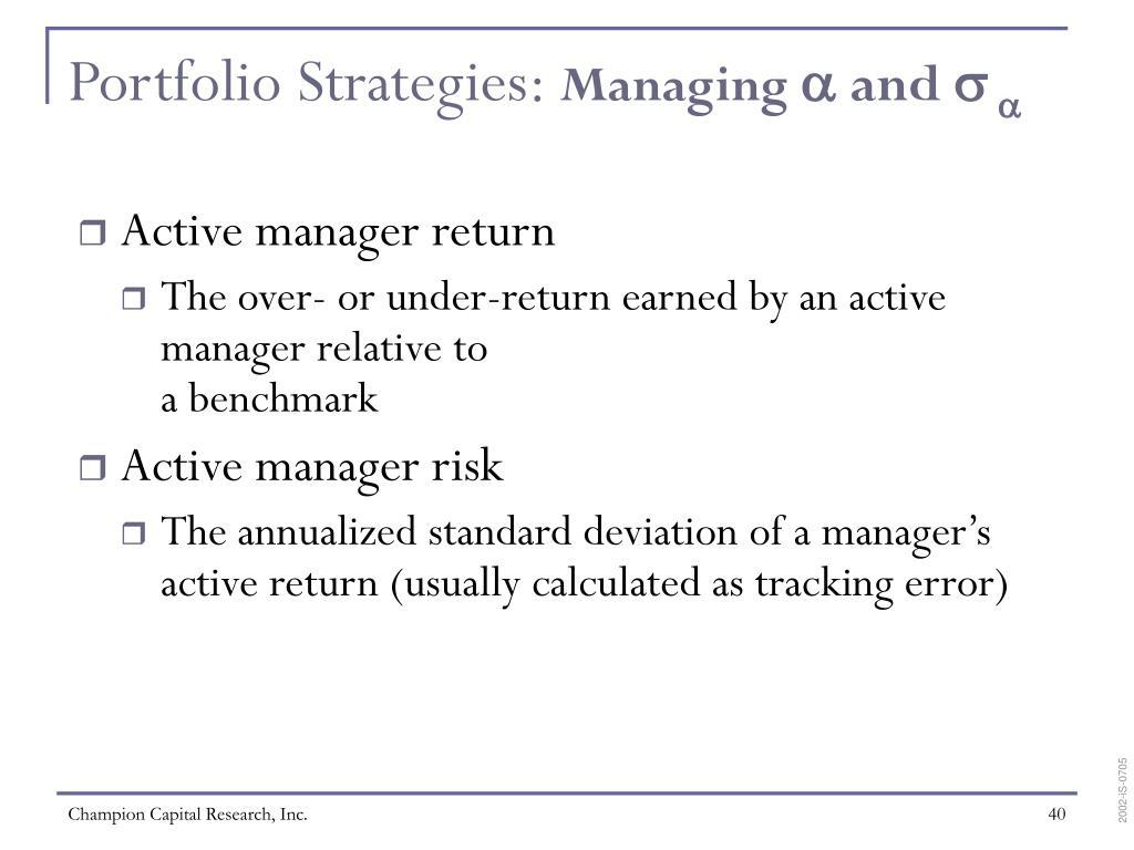 Portfolio Strategies: