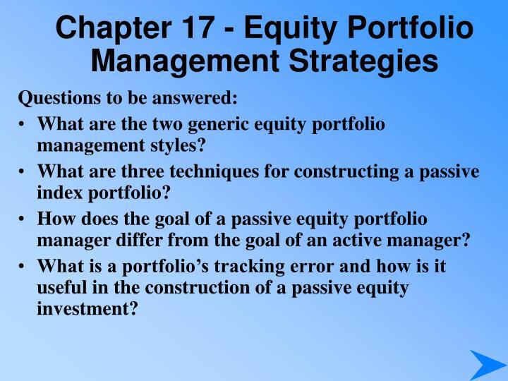 Chapter 17 equity portfolio management strategies