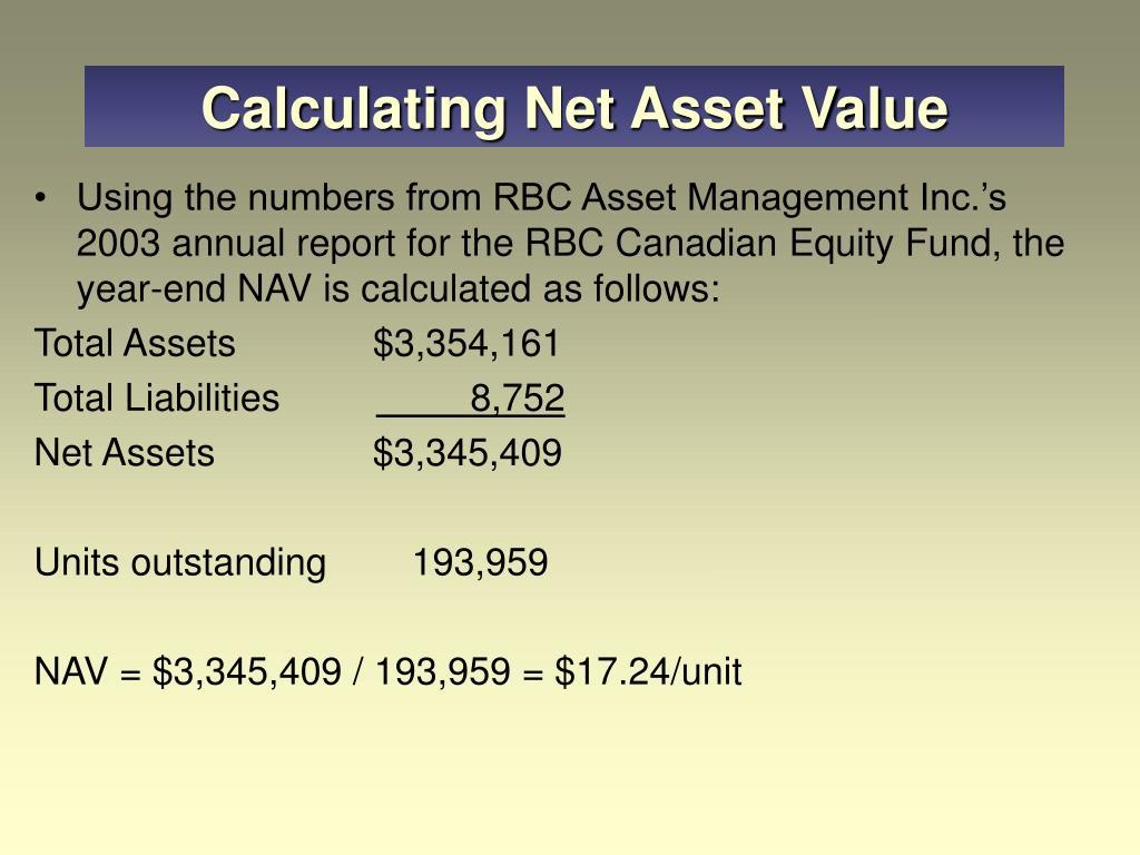 Calculating Net Asset Value